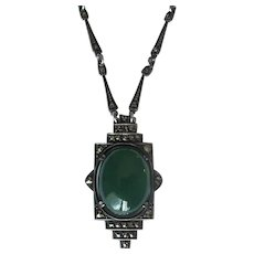 Art Deco Sterling & Green Onyx Pendant Necklace