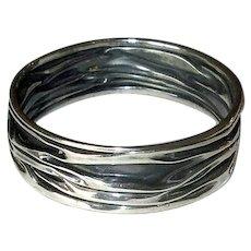 Mexican Silver Bangle Bracelet with Modernist Design