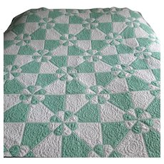 """Vintage Green and White Patchwork Quilt """"Hearts & Gizzards"""""""