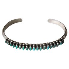 Sterling and Turquoise Native American Zuni Needlepoint Cuff