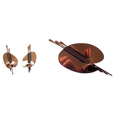 Renoir Burnished Copper Palette Pin and Earring Set