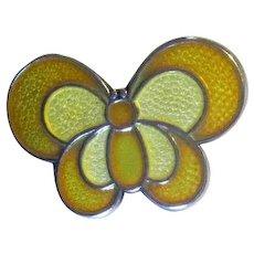 D-A David Andersen of Norway Yellow Enamel Butterfly Pin