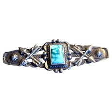 Sterling Silver Native American Pin with Turquoise