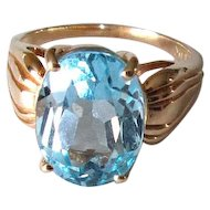 14K Gold Ladies' Ring with Blue Topaz Stone