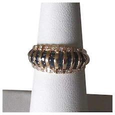 14K Gold Ladies' Band Ring with Sapphires and Diamonds