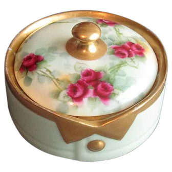 Hand-Decorated China Collar Button Box