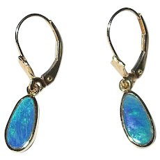 14K Natural Black Opal Drop Earrings