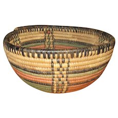 Coiled and Vegetable-Dyed Round Grass Basket