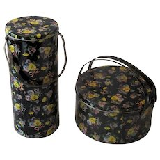 Pair of Yarn/Sewing Carrying Tins with Pansies