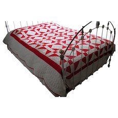 """Vintage Hand-Quilted Patchwork """"Shoo-Fly"""" Red & White Quilt"""