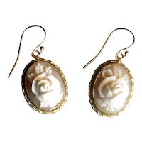 14K Gold Pierced Drop Cameo Earrings with Carved Roses