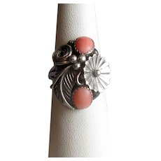 Sterling Silver Native American Ring with Coral Stones