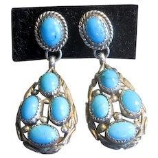 Native American Sterling & Turquoise Drop Earrings