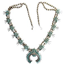 Native American Squash Blossom Necklace with Needlepoint Turquoise