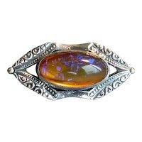 Sterling Silver & Dragon's Breath Art Glass Pin