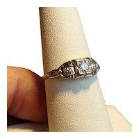14K White Gold Art Deco Ring with 3 Diamonds