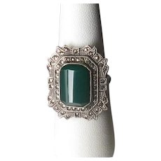 Art Deco Sterling & Green Onyx Ring with Marcasites