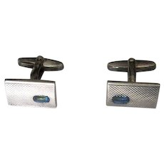 Vintage Mont Blanc Sterling Cuff Links with Blue Stones