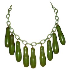 Vintage Green Bakelite and Celluloid Necklace