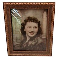 Vintage Rectangular Brass Table-Top Picture Frame with Curved Glass