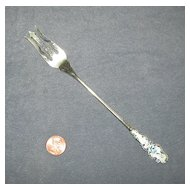 Long Sterling Silver Fork with Fancy Enameled Handle