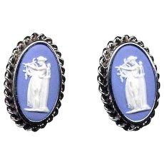 Sterling Silver Blue Wedgwood Cameo Screw-Back Earrings