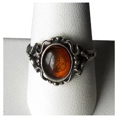 Sterling Silver & Cabochon Amber Ring