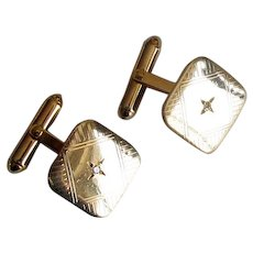 Vintage Gold-Filled Cuff-Links with Diamonds