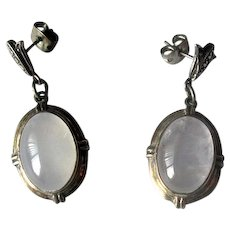 Sterling Silver Pendant Earrings with Rock Crystal Stones