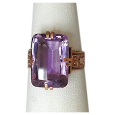 14K Victorian Rose Gold Ring with Amethyst