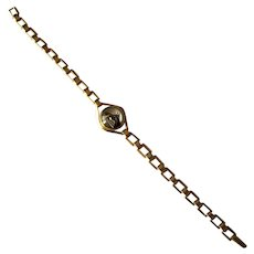 Vintage Gold-Filled Link Bracelet with Bubble Horse-Head