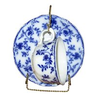 """English Flow Blue Meakins """"Colonial"""" Cup and Saucer"""