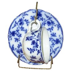 "English Flow Blue Meakins ""Colonial"" Cup and Saucer"