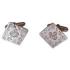 Sterling Silver Cuff Links with Engraved Pictographs