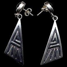 Native American Sterling & Black Onyx Drop Earrings