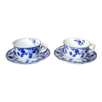 "Two ""Colonial"" Flow Blue Cups & Saucers"