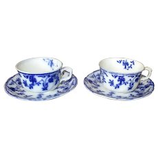 """Two """"Colonial"""" Flow Blue Cups & Saucers"""