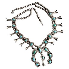 Native American Navaho Silver & Turquoise Squash Blossom Necklace
