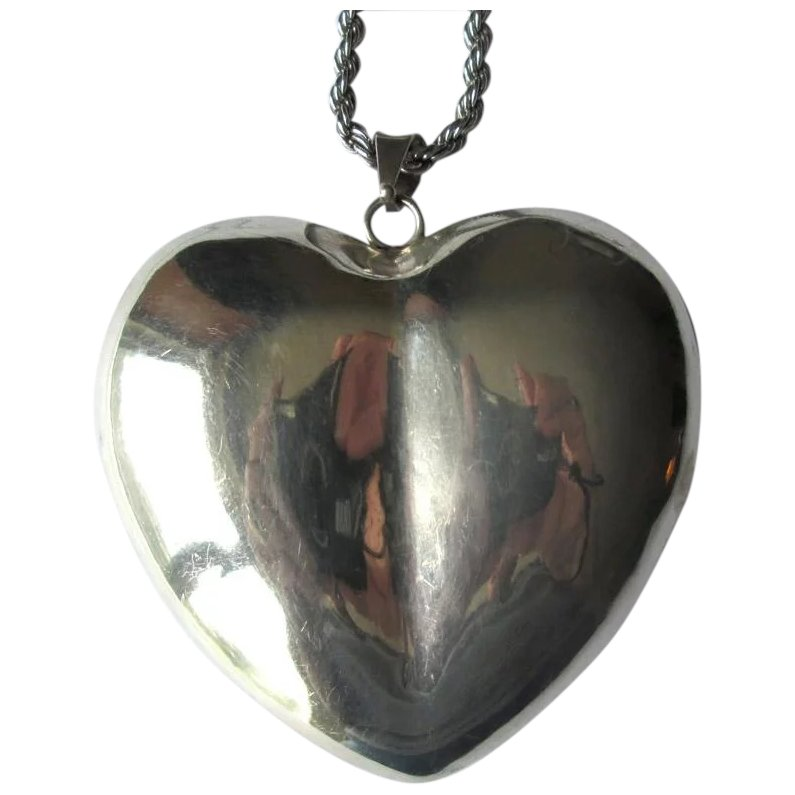 ET341 Vintage Mexico Heart Puffed Mod Sterling Silver Pendant