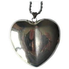 Mexican Silver Puffed Heart Pendant with Sterling Rope Chain
