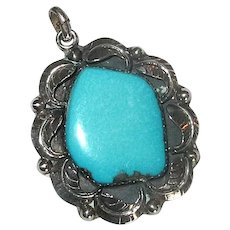 Native American Navaho Silver and Turquoise Pendant