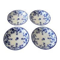 "Set of Four Flow Blue ""Colonial"" Cream Soups"