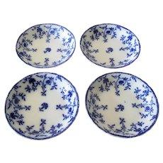 """Set of Four Flow Blue """"Colonial"""" Cream Soups"""