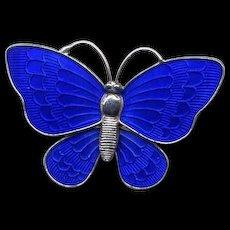 Denmark Sterling and Blue Guilloche Enamel Butterfly Pin