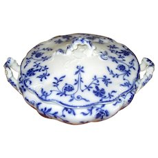 "English Flow Blue Meakin ""Colonial"" Covered Vegetable Dish"