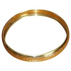 Large Size Gold-Filled Bangle Bracelet with Engraved Design