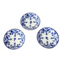 Three English Flow Blue Fruit Bowls