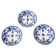 Three English Flow Blue Fruit Bowls