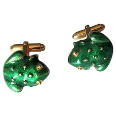 Gold-Filled Frog Cuff Links in Green Enamel