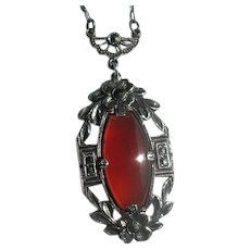 Vintage Sterling & Marcasite Pendant Necklace with Carnelian